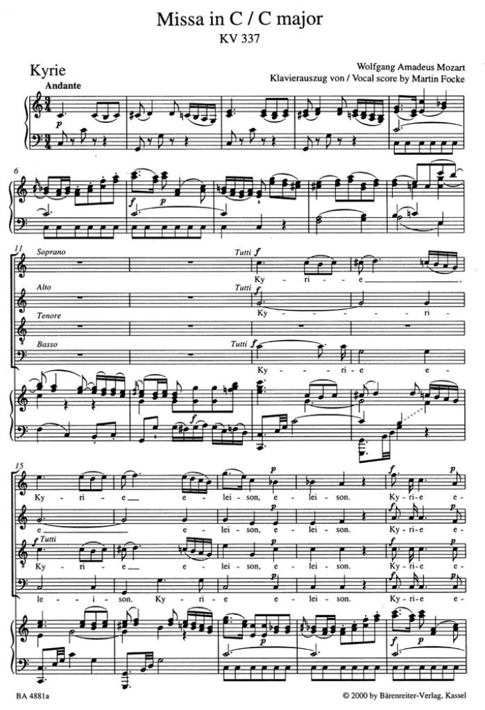Missa C major KV 337 'Missa solemnis'