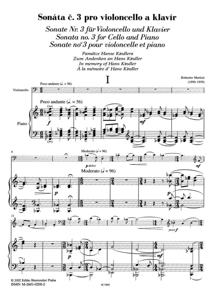 Sonate fur Violoncello und Klavier