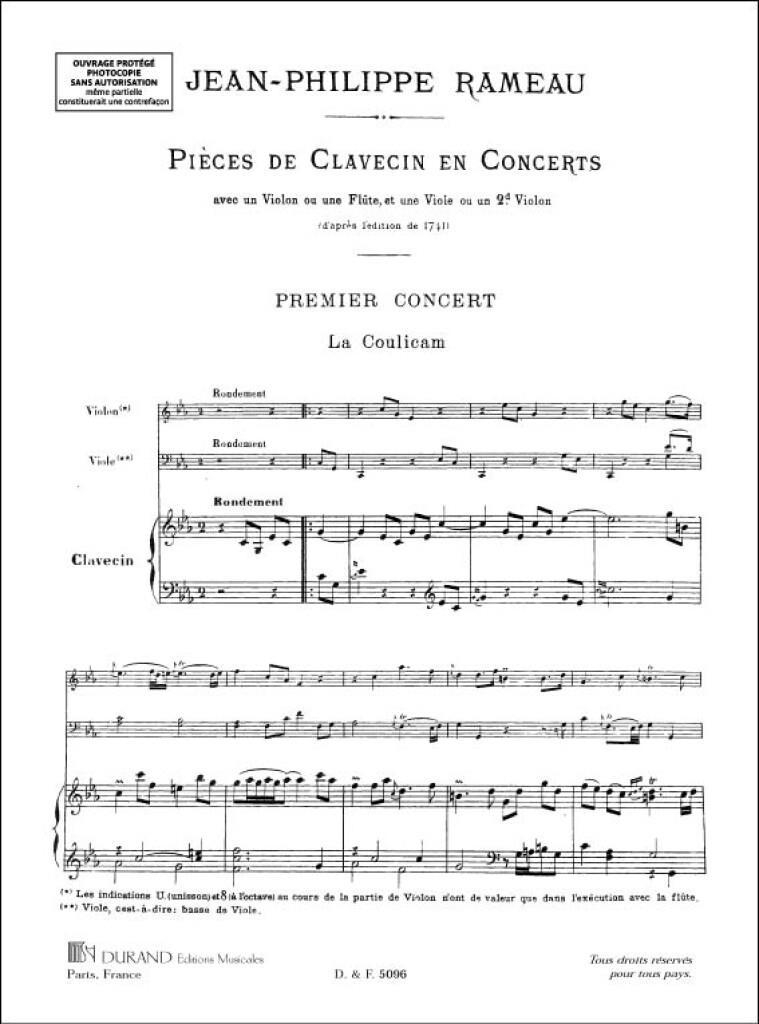 Pieces De Clavecin En Concert, Trios, Pour Piano,