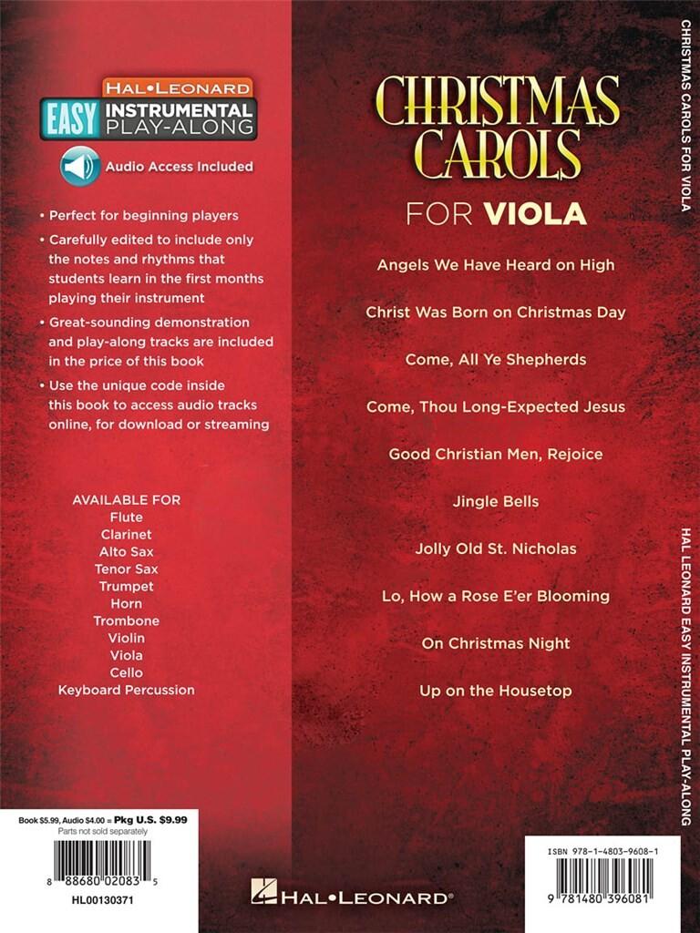 Christmas Carols - Viola: 10 Holiday Favorites
