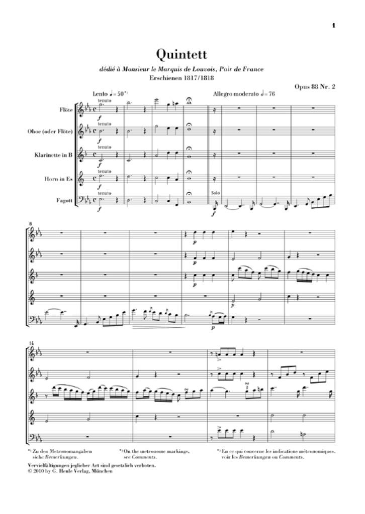 Bläserquintett Es-dur Opus 88 Nr. 2