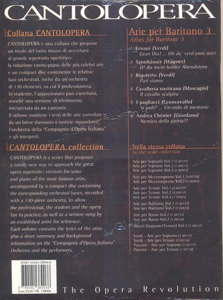 Cantolopera: Arie Per Baritono Vol. 3