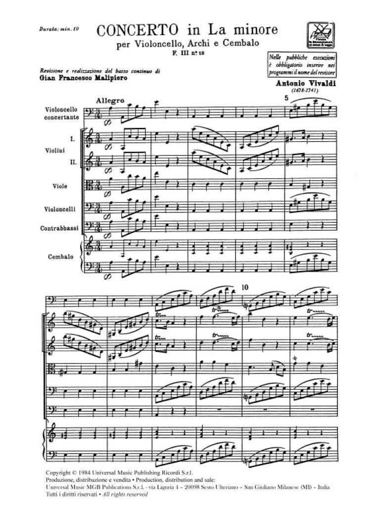 Concerti Per Vc., Archi E B.C.: In La Min. Rv 418