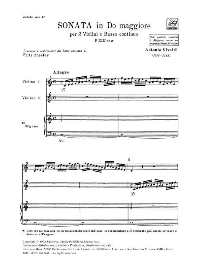 Sonate Per Vl. E B.C.: Per 2 Vl. In Do Rv 60