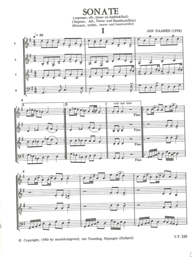 Sonate Blokfluit Kwartet