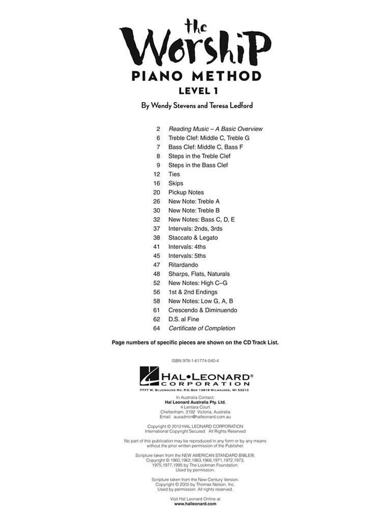 The Worship Piano Method: Level 1   Music Shop Europe